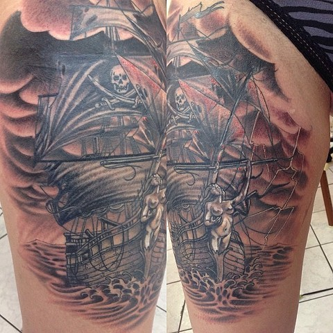 Pirate Ship Tattoo By Lee Conklin Black And Grey Black Gold Tattoo Co