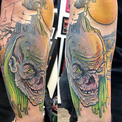 Tales from the Crypt  Tattoo By Chris Labrenz Color Black Gold Tattoo Co