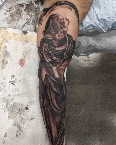 Grim Reaper Tattoo By Kevin Sherritt Black and Grey Black Gold Tattoo Co.