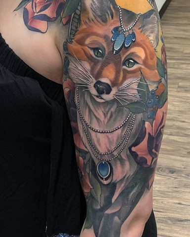 Fox w/ Jewels and Flowers Tattoo By Sasha Roussel Color Black Gold Tattoo Co