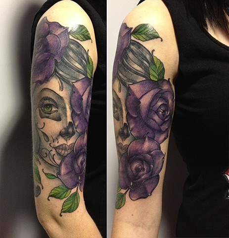 Day Of the Dead Girl With Flowers Tattoo By Chad Clothier Black And Grey With Color Black Gold Tattoo Co