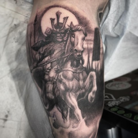Samurai On Horseback Tattoo By Steve Hayes Black and Grey Black Gold Tattoo Co
