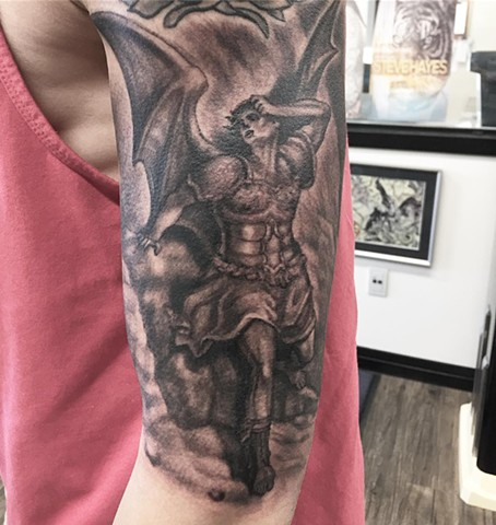 Gustave Dore Lucifer In Agony Tattoo By Steve Hayes Black And Grey Black Gold Tattoo Co