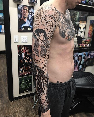 Samurai And Snake Tattoo By Guka Work In Progress Black Gold Tattoo Co