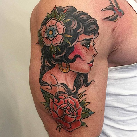 Traditional Girl With Flowers And Sparrow Tattoo By Chris Benson Color Black Gold Tattoo Co  2016