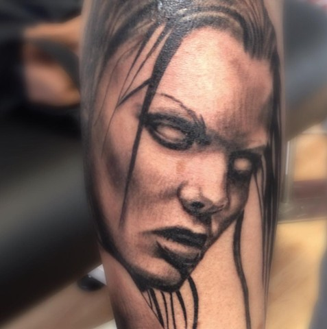 Scary Girl Tattoo By Alan Coates Black Gold Tattoo Co
