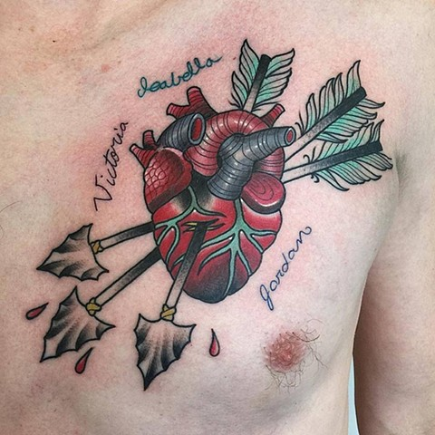 Heart With Arrows Tattoo By Chris Benson Color Black Gold Tattoo Co