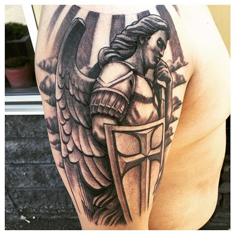 Archangel Michael Tattoo By Kyiel Cholik Black And Grey Black Gold Tattoo Co