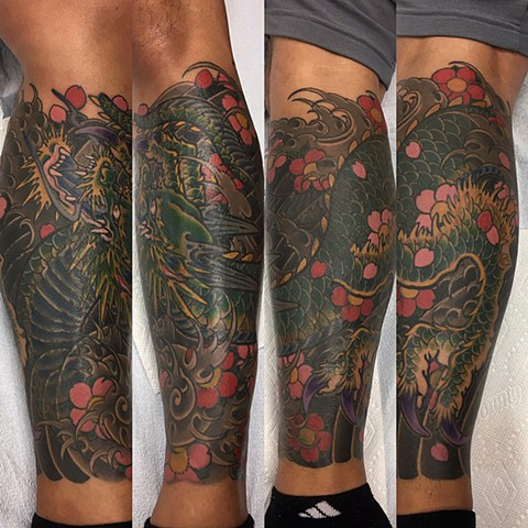 Dragon And Cherry Blossoms Tattoo By Guka Color Black Gold Tattoo Co