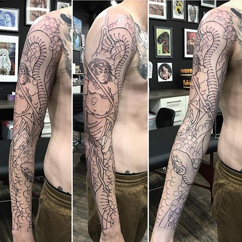 Snake And Samurai Tattoo By Guka Work In Progress Black Gold Tattoo Co
