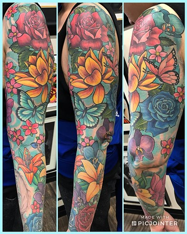 Flowers And Butterfly Tattoo By Jess Alther Color Black Gold Tattoo Co