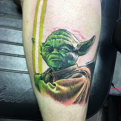 Star Wars Yoda Tattoo By Chris Labrenz Color Black Gold Tattoo Co