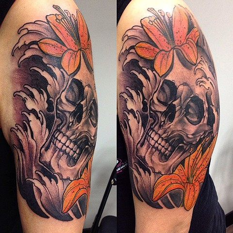 Skull With Flowers Tattoo By Chad Clothier Black And Grey With Color Black Gold Tattoo Co