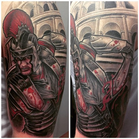 Gladiator Tattoo By Kyiel Cholik Black And Grey With Color Black Gold Tattoo Co