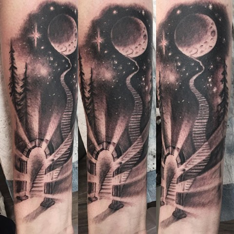 Stairway To Moon Tattoo By Steve Hayes Black And Grey Black Gold Tattoo Co