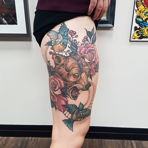 Bear And Birds With Berries And Roses Tattoo By Sasha Roussel Color Black Gold Tattoo Co