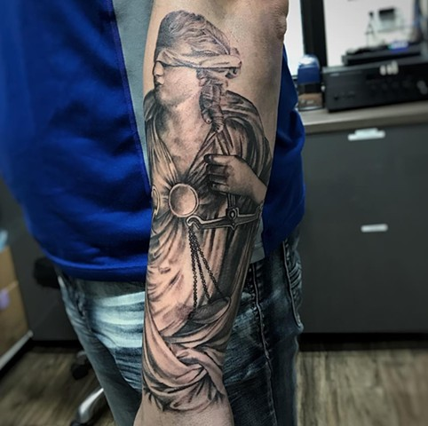Lady Justice Tattoo By Alan Coates Black And Grey Black Gold Tattoo Co. 2019