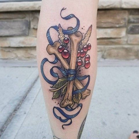 Bones With Ribbon And Berries Tattoo By Sasha Color Black Gold Tattoo Co