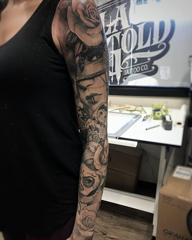 Women and floral full sleeve Tattoo By Alan Coates Black And Grey Black Gold Tattoo Co. 2019