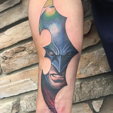 Batman In Batman Symbol Tattoo By Chris Labrenz Color Black Gold Tattoo Co