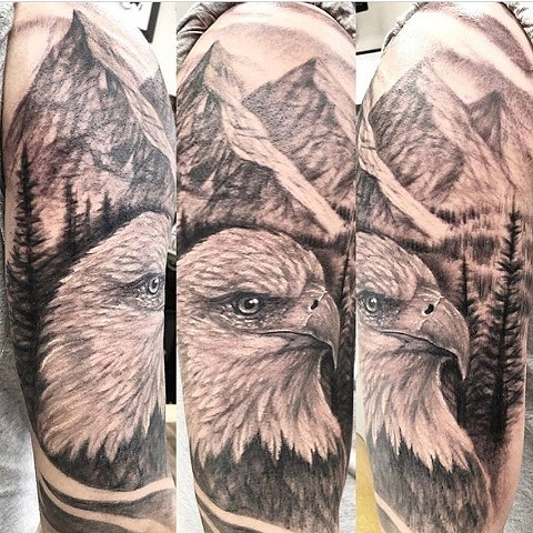 Eagle and Mountains Tattoo By Steve Hayes Black And Grey Black Gold Tattoo Co