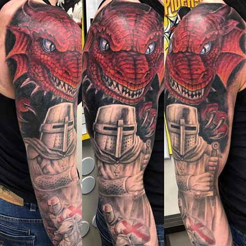Knight and Dragon Tattoo By Steve Hayes Black And Grey with Color Black Gold Tattoo Co