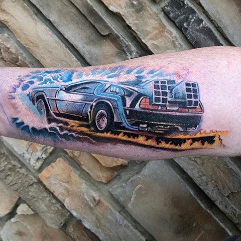 Back to the Future Tattoo By Chris Labrenz Color Black Gold Tattoo Co