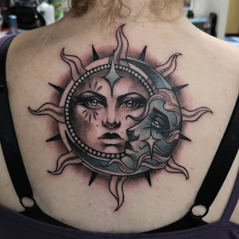 Sun And Moon Tattoo By Sasha Roussel Color Black Gold Tattoo Co