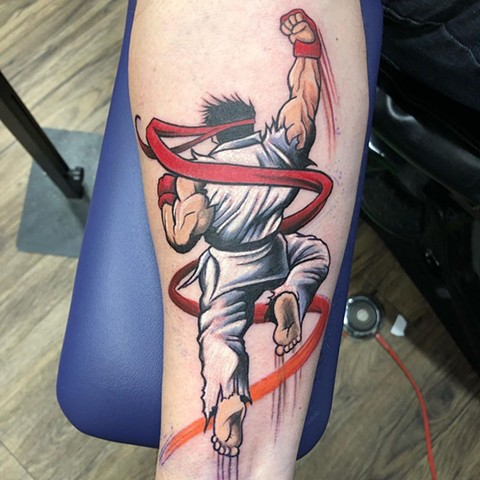 Street Fighter Ryu Tattoo By Chris Labrenz Color Black Gold Tattoo Co.