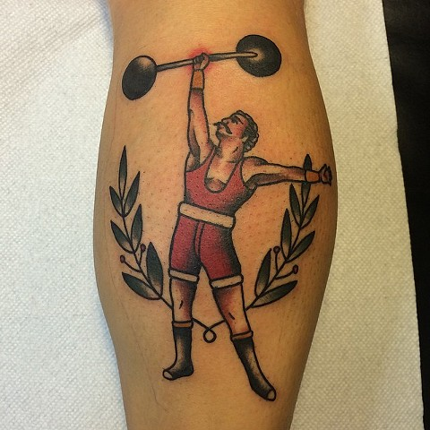 Traditional Athlete Tattoo By Spencer Evans Color Black Gold Tattoo Co