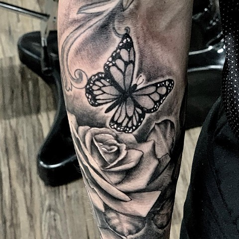 Butterfly with Rose Tattoo By Romeo Ostiguy Black And Grey Black Gold Tattoo Co 2019