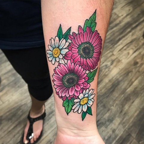 Gerber Daisies Tattoo By Jess Alther Color Black Gold Tattoo Co