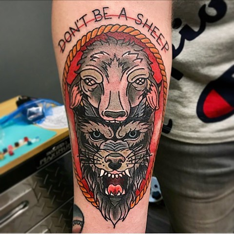 Wolf Wearing Sheep Headdress Tattoo By Jess Alther Color Black Gold Tattoo Co