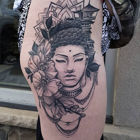 Buddha With Mandala And Flowers Tattoo By Sasha Roussel Black And Grey Black Gold Tattoo Co