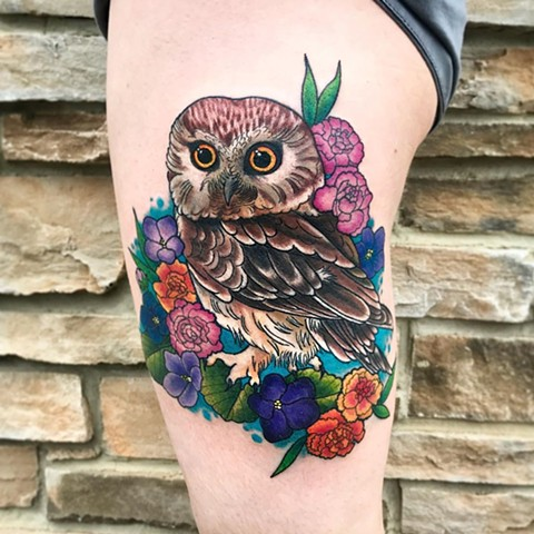 Owl Tattoo By Jess Alther Color Black Gold Tattoo Co
