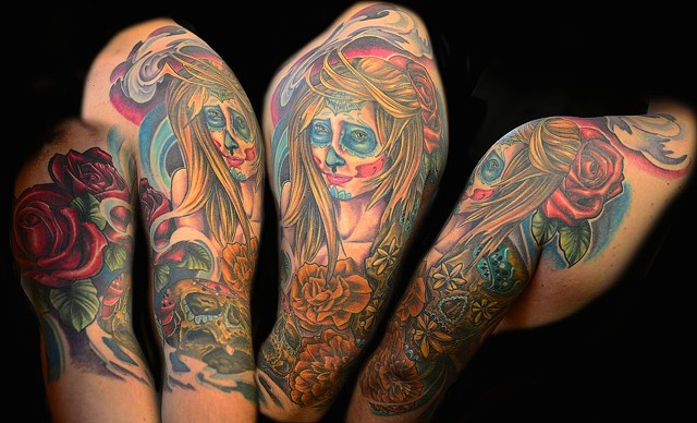 Day Of The Dead Girl Tattoo By Josh Lamoureux Color Black Gold Tattoo Co