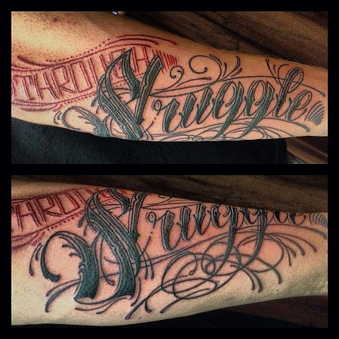 Script Tattoo By Lee Conklin Color Black Gold Tattoo Co