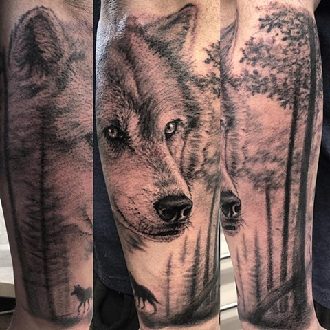 Wolf Tattoo By Steve Hayes Black And Grey Black Gold Tattoo Co