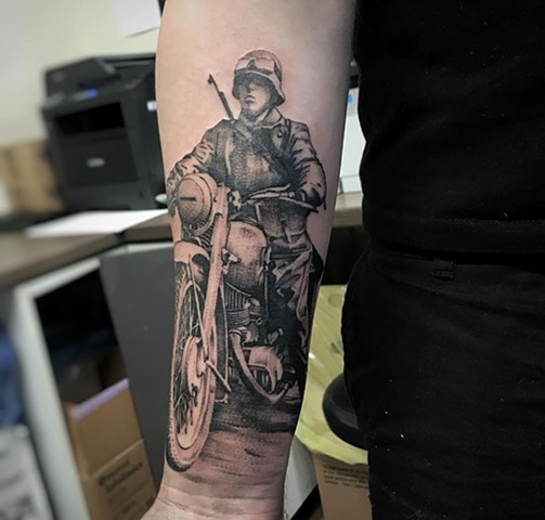 WW2 Motorcycle Soldier Tattoo By Alan Coates Black And Grey Black Gold Tattoo Co