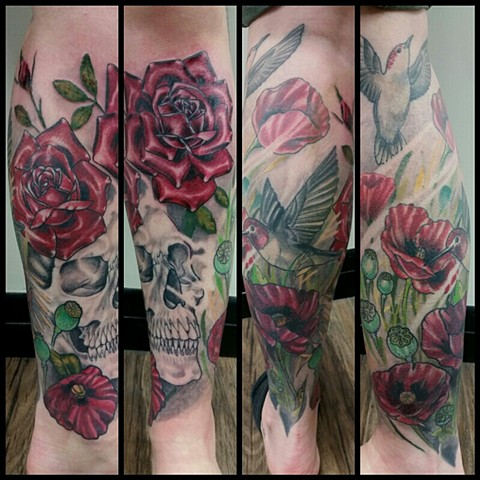 Skull And Rose Tattoo By Ashley Hoff Color Black Gold Tattoo Co