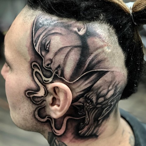 Angel And Demon Tattoo By Romeo Ostiguy Black And Grey Black Gold Tattoo Co