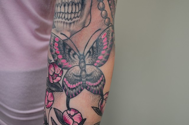 Butterfly Tattoo By Ashley Hoff Black And Grey With Color Black Gold Tattoo Co