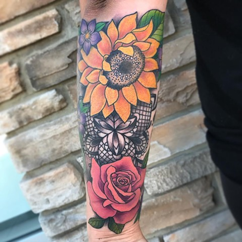 Flowers and Lace Tattoo By Jess Alther Color Black Gold Tattoo Co