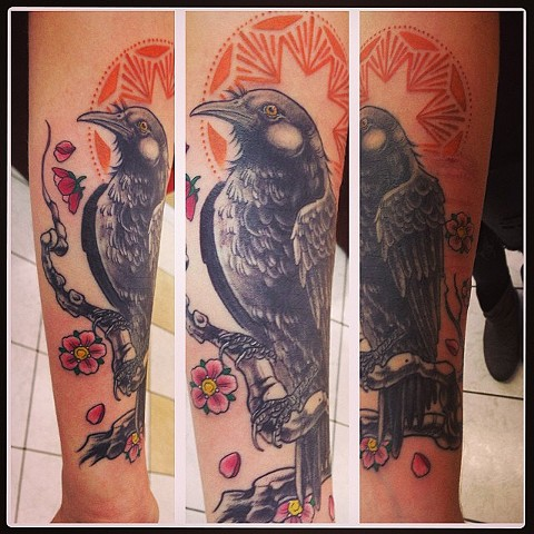 Crow Sitting On Branch Tattoo By Lee Conklin Black And Grey With Color Black Gold Tattoo Co