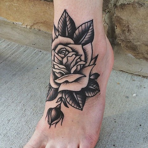 Traditional Rose Tattoo By Spencer Evans Black And Grey Black Gold Tattoo Co
