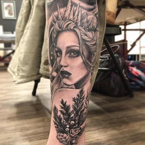 Winter Queen Tattoo By Sarah Michelle Black And Grey Black Gold Tattoo Co