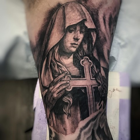 Mary Tattoo By Alan Coates Black And Grey Black Gold Tattoo Co