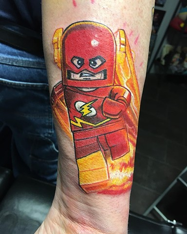 Lego Flash Tattoo By Chris Labrenz Color Black Gold Tattoo Co