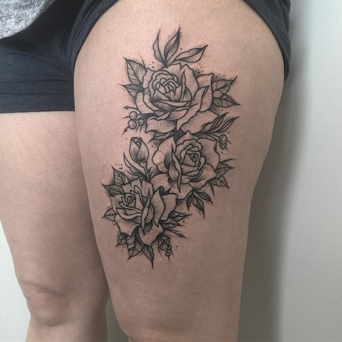 Roses Tattoo By Chris Benson Black And Grey Black Gold Tattoo Co