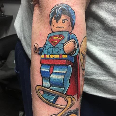 Lego Superman Tattoo By Chris Labrenz Color Black Gold Tattoo Co